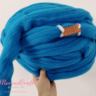 ghem lana merinos cu fir gigant albastru marin