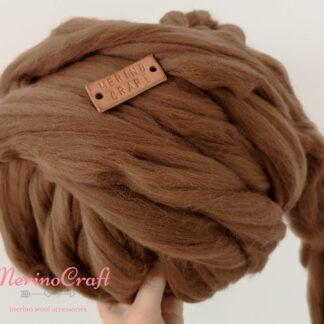 ghem lana merinos cu fir gigant maro ciocolata