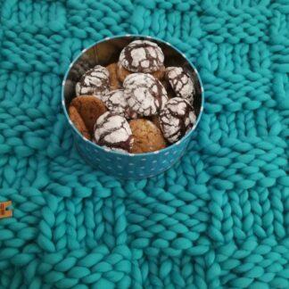 patura impletita manual din lana organica Rosarios4, Lalala