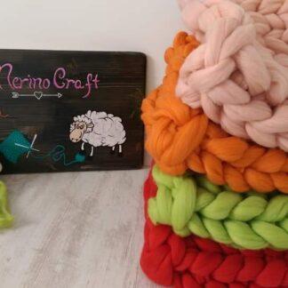 patura lana merinos impletita manual verde crud