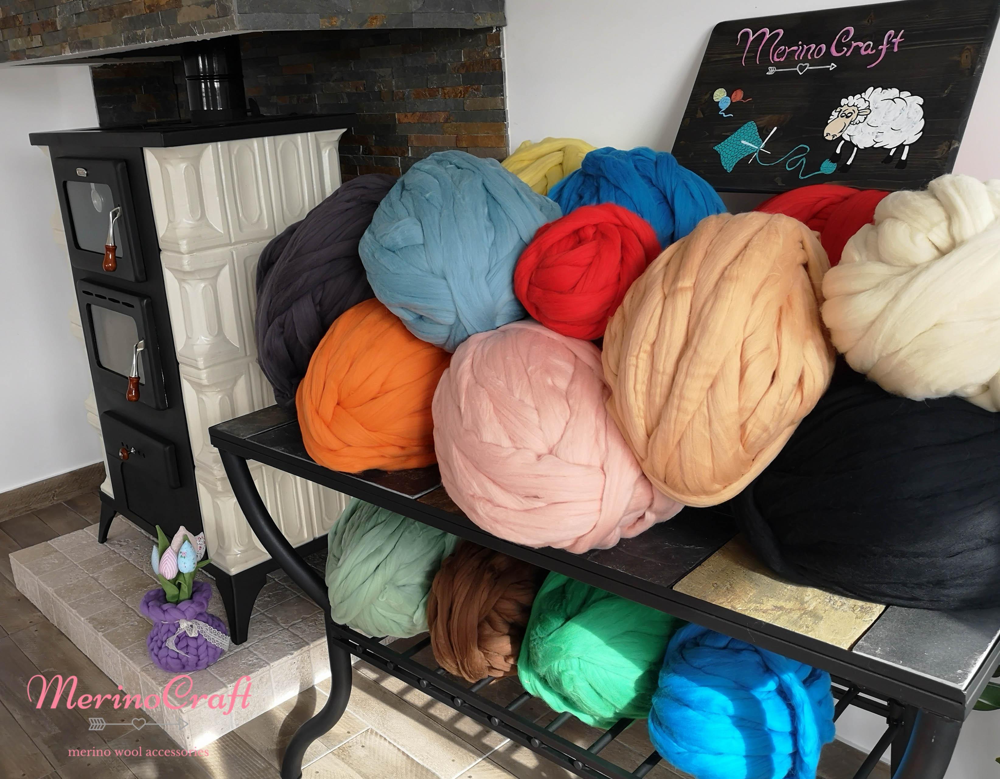 Ghemuri lana merino cu fir gigant