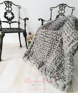 Patura lana merinos argintiu